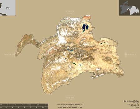 Gorno-Badakhshan, region of Tajikistan. Sentinel-2 satellite imagery. Shape isolated on solid background with informative overlays. Contains modified Copernicus Sentinel data