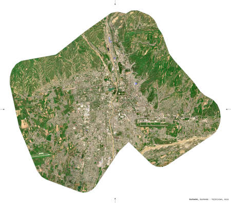 Dushanbe, region of Tajikistan. Sentinel-2 satellite imagery. Shape isolated on white. Description, location of the capital. Contains modified Copernicus Sentinel data