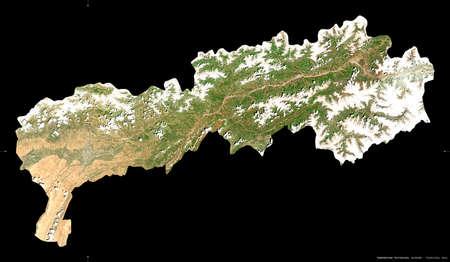 Tadzhikistan Territories, region of Tajikistan. Sentinel-2 satellite imagery. Shape isolated on black. Description, location of the capital. Contains modified Copernicus Sentinel data Reklamní fotografie