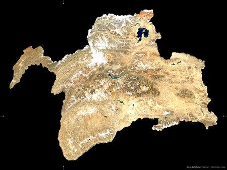 Gorno-Badakhshan, region of Tajikistan. Sentinel-2 satellite imagery. Shape isolated on black. Description, location of the capital. Contains modified Copernicus Sentinel data Reklamní fotografie