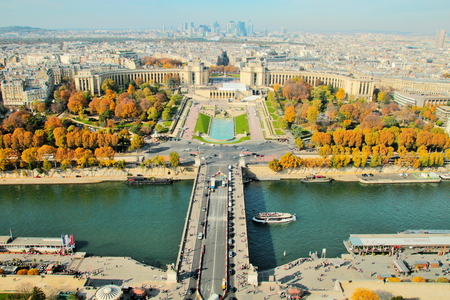 View from the Eiffel Tower and the Seine River in Paris.