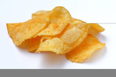 Potato chips, a small bunch of close-ups on a white background.