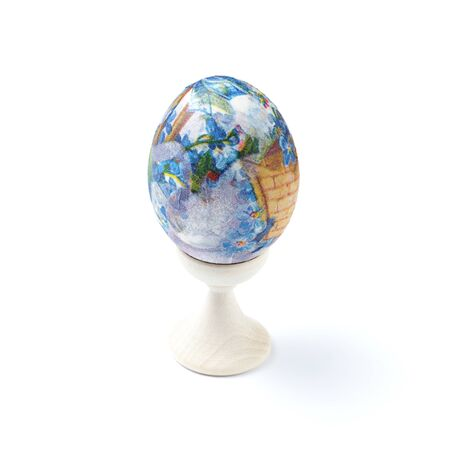 Easter egg, traditional easter symbol, white background, close-up, isolate.