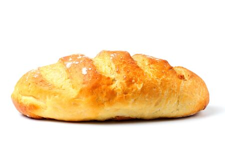 Homemade white bread or loaf, close-up, white background, copy space, isolate.