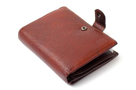 Leather wallet for man, close-up, white background, isolate,
