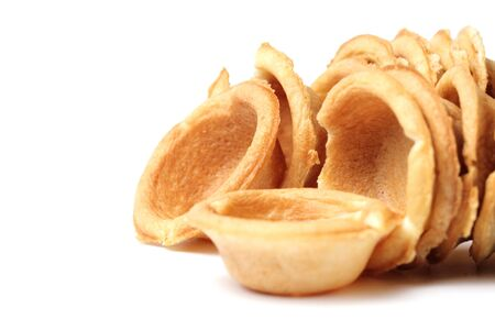 Tartlets for home cooking or restaurant, close-up, white background, baking.