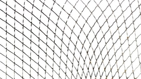Decorative steel mesh as backdrop or background, close-up, white background. Standard-Bild