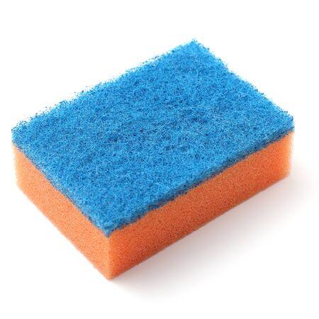 Bright kitchen sponge, close-up, white background, copy space.