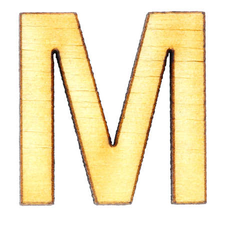 Letter M made of wood or plywood on a white background, isolate, english alphabet, close-up. Stockfoto