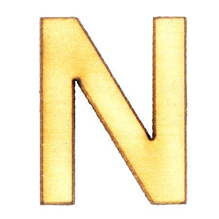 Letter N made of wood or plywood on a white background, isolate, english alphabet, close-up.