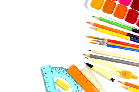 School supplies on white background, pencils, pens, rulers. Back to school or education concept. Top view, flat lay, copy space, place for text.