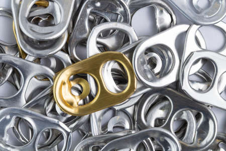 Keys from different beer cans as a background, close-up. Beer festival concept. Stockfoto