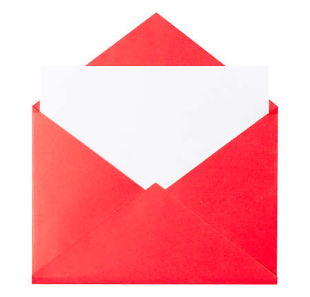 Mockup of a greeting letter or invitation in a red envelope, isolate on white. Imagens