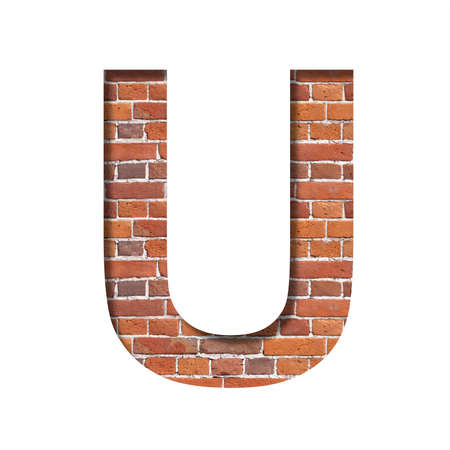 Font on brick texture. Letter U, cut out of paper on a background of real brick wall. Volumetric white fonts set.