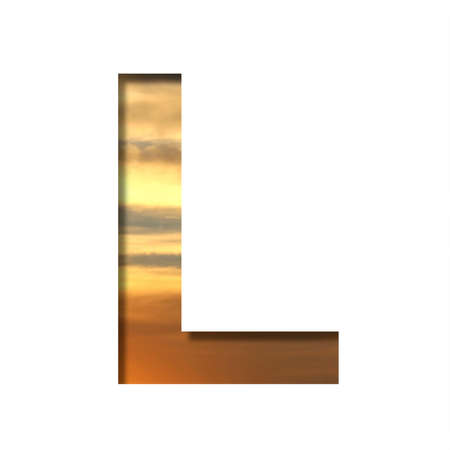 Font on the sunset sky. The letter L cut out of paper on the background of the colorful sky at beautiful sunset. Set of decorative natural fonts.
