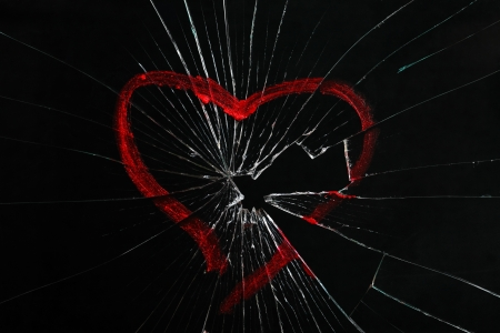 glass heart: broken glass with drawn heart