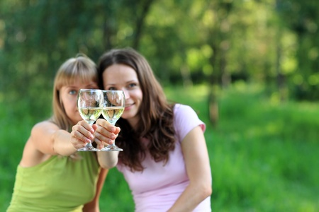 cute girlfriends: Party outdoors Stock Photo
