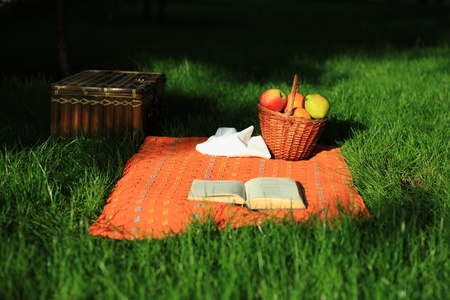 Still life picnic - selective focus on basket with fruits photo