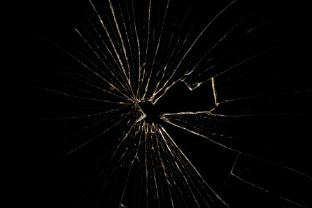 Broken glass isolated on black background