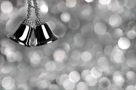 campanas navidad: Tarjeta de Navidad plata Foto de archivo