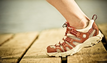 sneakers: Foot of jogging person
