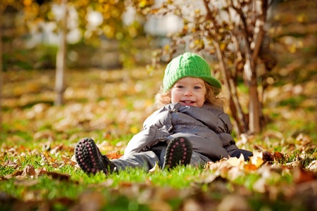 Smiling baby girl sitting on yellow leaves in autumn park photo