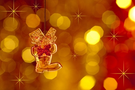christmas tree decoration on lights red and gold background photo - Gold Christmas Tree Lights