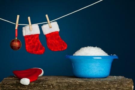 Laundry service. Christmas concept photo