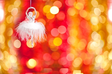 Vintage Christmas tree decoration against lights background photo