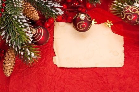 Christmas card on red background Stock Photo - 10916723