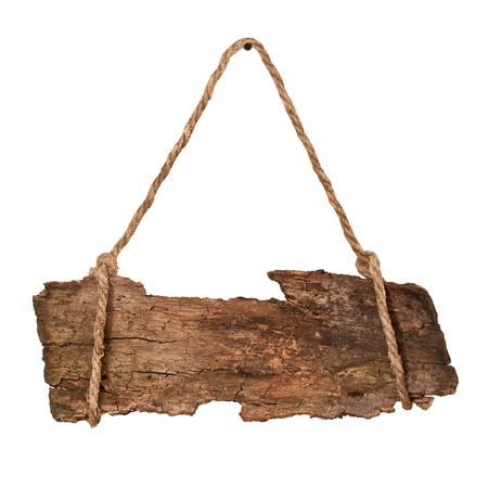 Old wooden sign hanging on rope. Isolated on white photo