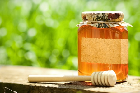 Honey jar with blank paper label and wooden stick on table against green spring natural background photo