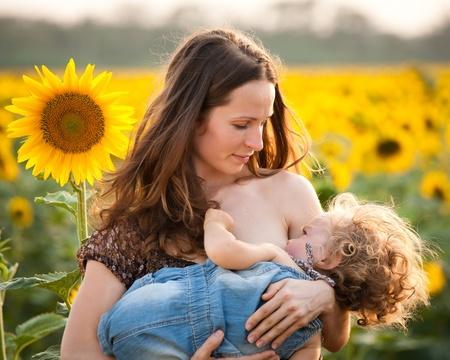 amamantando: Mujer feliz bebé la lactancia materna en la primavera de campo de girasol