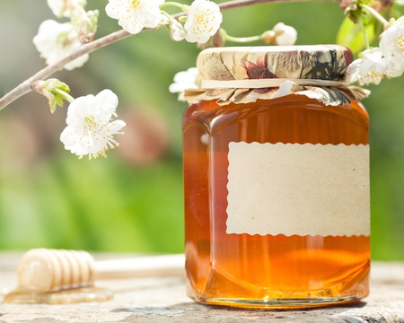Honey jar with blank paper label, flower and wooden stick on table against green spring natural background photo