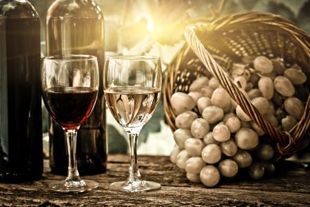 weinverkostung: Weinflaschen, zwei Gl�ser und Weintrauben im Korb gegen Weinberg im Fr�hjahr. Vintage-Look