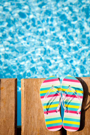 Beach s flip flops on wood  Concept image of summer holidays Stock Photo - 12787444