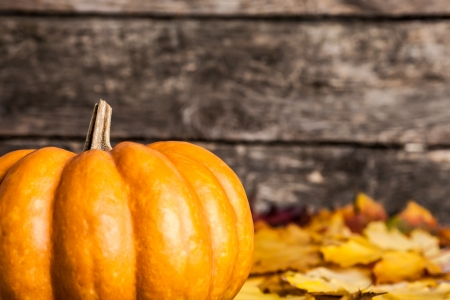 pumpkin border: Autumn border from big pumpkin and yellow leaves on wooden background. Shallow depth of fields