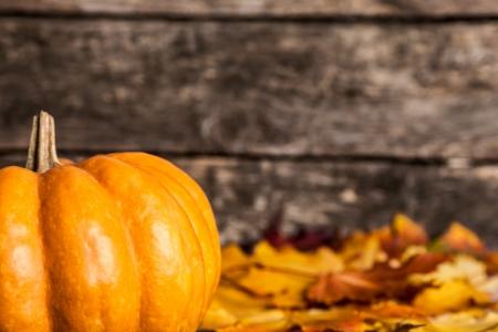 calabazas de halloween: Oto�o frontera de hojas de calabaza y el arce sobre fondo de madera Foto de archivo