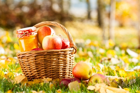 autumn harvest: Jam in jar and basket full of fresh juicy apples on a grass. Autumn harvest concept