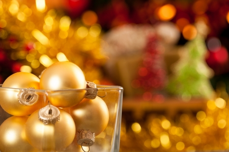 Christmas tree decorations against blurred lights background Stock Photo - 14595631