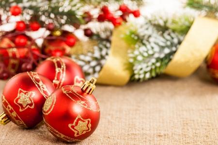 Christmas tree decorations on canvas Stock Photo - 14931559