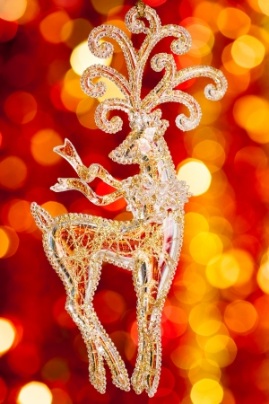 Christmas tree decoration on blurred lights background photo