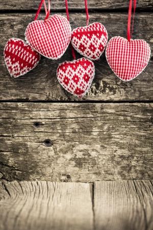 valentine s day: Hearts on wooden background  Valentine s day concept