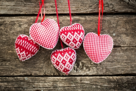 valentine's: Hearts on wooden background  Valentine s day concept