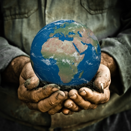 green earth: Earth in hands of old man  Ecology concept