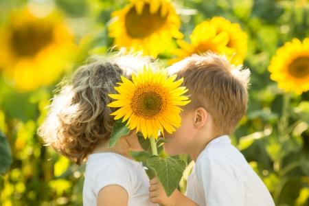 pareja saludable: Ni�os felices con girasol jugando en campo de primavera Foto de archivo