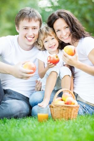 familia en jardin: Familia feliz que se sienta en la hierba verde y el jugo de manzana potable en parque del resorte Foto de archivo