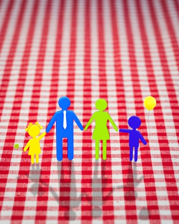 3d happy family on gingham tablecloth photo