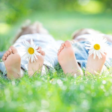 Family lying on green grass in spring park. Healthy lifestyle concept Stock Photo - 17642622