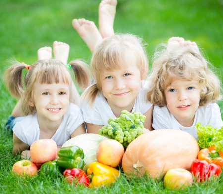 Group of happy children with fruits and vegetables lying on green grass in spring park. Healthy eating concept photo